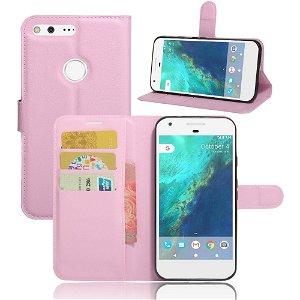 Google Pixel PU læder Flipcover m. Kortholder - Pink