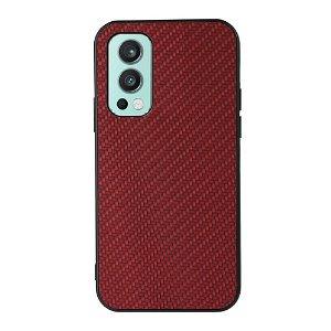 OnePlus Nord 2 (5G) Plastik & Imiteret Læder Cover - Rød Carbon