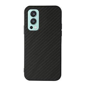 OnePlus Nord 2 (5G) Plastik & Imiteret Læder Cover - Sort Carbon