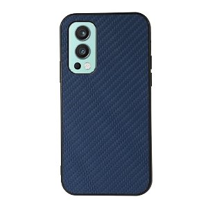 OnePlus Nord 2 (5G) Plastik & Imiteret Læder Cover - Blå Carbon