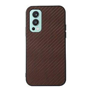 OnePlus Nord 2 (5G) Plastik & Imiteret Læder Cover - Brun Carbon