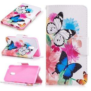Nokia 6 PU læder FlipCover m. Kortholder - Vivid Butterflies