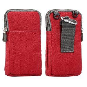 Bæltetaske Til Smartphones m. Karabinhage & Strop - Rød