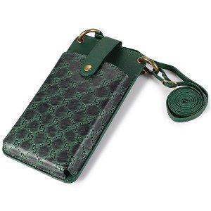 Universal Læder Etui m. Pung & Strop (Maks Mobil: 170 x 90 x 17 mm) - Grøn