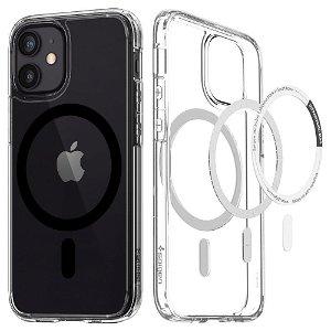 iPhone 12 Mini Spigen Ultra Hybrid Cover - MagSafe Kompatibel - Gennemsigtig / Sort