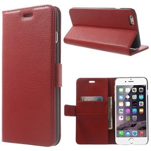 Apple iPhone 6/6s Plus Deluxe Flip Cover Med Pung - Rød