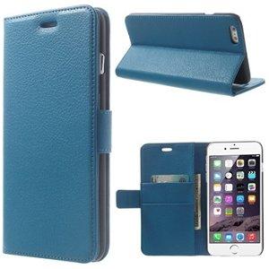 Apple iPhone 6/6s Plus Deluxe Flip Cover Med Pung - Blå