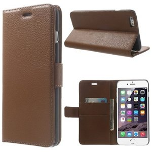 Apple iPhone 6/6s Plus Deluxe Flip Cover Med Pung - Brun