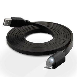 Naztech Micro-USB kabel med Lys - Sort