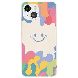 iPhone 13 Fleksibelt Silikone Bagside Cover - Farverig Smiley - Beige
