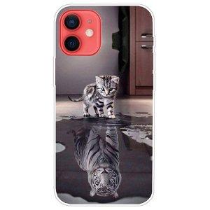 iPhone 13 Mini Fleksibel Gennemsigtig Plastik Bagside Cover - Kat og Tiger
