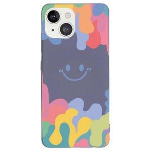 iPhone 13 Fleksibelt Silikone Bagside Cover - Farverig Smiley - Mørk Lilla