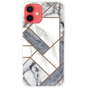 iPhone 13 Mini Fleksibel Plastik Bagside Cover - Hvid / Grå Marmor