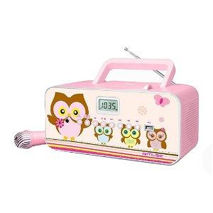 MUSE Transportabel Karaoke Radio til Børn m. Mikrofon Til Karaoke - Glad Ugle Familie