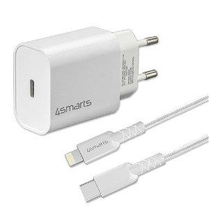 4smarts VoltPlug PD 20W USB-C Vægoplader m. Kabel  - Hvid