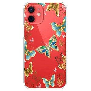 iPhone 13 Mini Fleksibel Gennemsigtig Plastik Bagside Cover - Guld Sommerfugle
