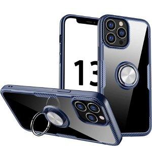 iPhone 13 Pro Max Håndværker Bagside Cover m. Magnetisk Kickstand - Gennemsigtig / Blå