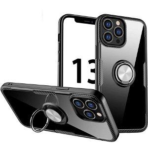 iPhone 13 Pro Max Håndværker Bagside Cover m. Magnetisk Kickstand - Gennemsigtig / Sølv