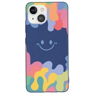 iPhone 13 Fleksibelt Silikone Bagside Cover - Farverig Smiley - Mørkeblå
