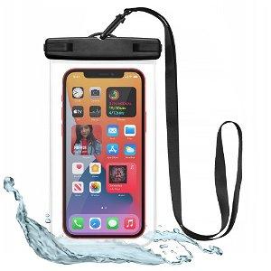Tech-Protect Universal Waterproof Case Etui - Sort / Gennemsigtig (Maks. Mobil: 163 x 90 x 10 mm)