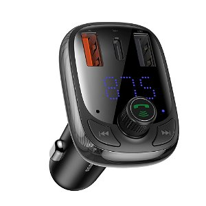 Baseus Biloplader m. 2 x USB-A / 1 x USB-C Bluetooth MP3/FM-Transmitter - Sort