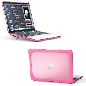 """MacBook Pro 13"""" (2020) Solidt Plastik Cover m. Stander - Rose"""