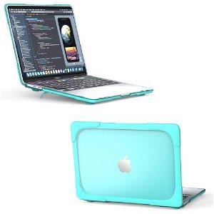"""MacBook Pro 13"""" (2020) Solidt Plastik Cover m. Stander - Blå"""