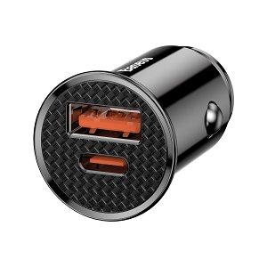 Baseus Circular 30W Biloplader USB-A & USB-C - Sort