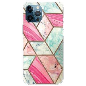 iPhone 13 Pro Fleksibel Plastik Bagside Cover - Lyserød / Cyan Marmor