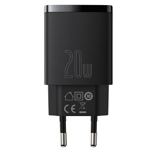 Baseus Compact 20W Vægoplader USB-C & USB-A Quick Charge - Sort
