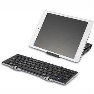 Universal Deltaco Foldable Bluetooth Keyboard TB-135 m. Dansk Tastatur & Læder Etui - Sort
