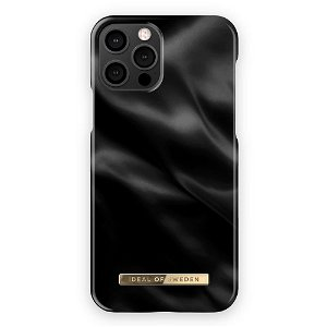 iDeal Of Sweden iPhone 12/ 12 Pro Fashion Bagside Case Black Satin