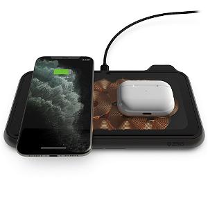 ZENS Liberty Dual Trådløs 30W Fast Charge Oplader til Smartphones & AirPods  - Gennemsigtig