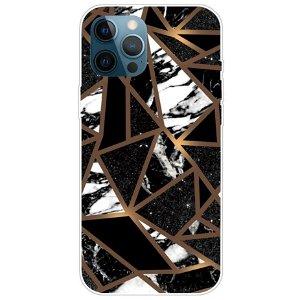 iPhone 13 Pro Fleksibel Plastik Bagside Cover - Sort / Guld Marmor