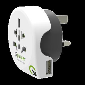 Q2Power Verden Til UK 10W Rejseadapter m. USB-A . Hvid