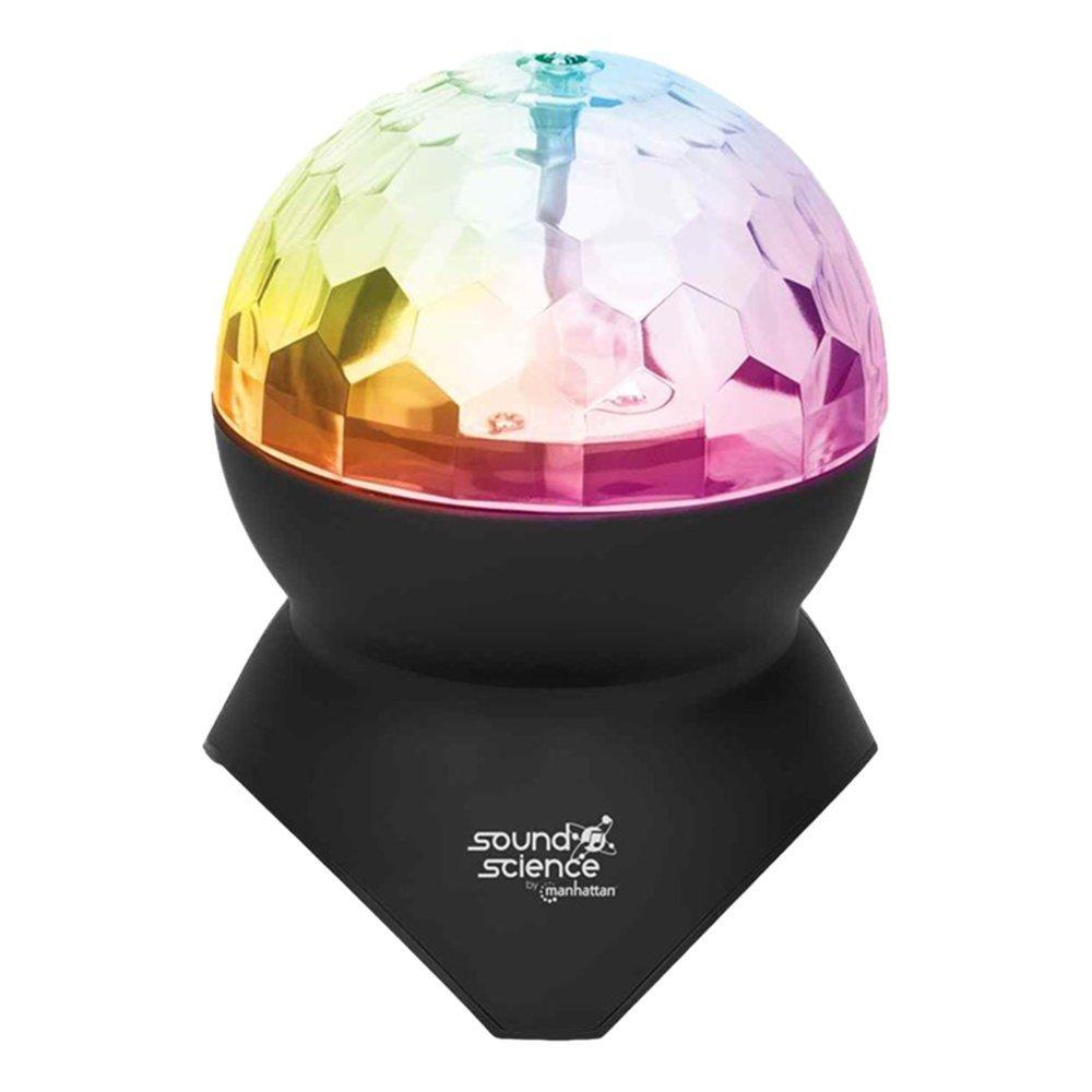 Manhattan Trådløs Mini Bluetooth Højttaler m. Disko Lyskugle – Sort
