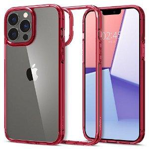 iPhone 13 Pro Spigen Ultra Hybrid Bagside Cover - Gennemsigtig / Rød