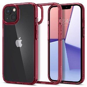 iPhone 13 Mini Spigen Ultra Hybrid Bagside Cover - Gennemsigtig / Rød