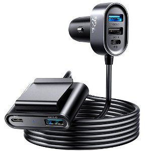 JoyRoom 5 Multi-Port USB Car Charger 72W m. 3 x USB-A & 2 x USB-C - Sort