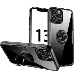 iPhone 13 Pro Max Håndværker Bagside Cover m. Magnetisk Kickstand - Gennemsigtig / Sort