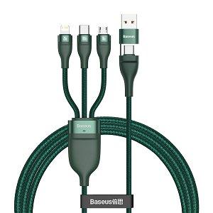 Baseus Flash Series 3-i-2   USB-C  / Lightning / Micro USB 100W Kabel 1.2m. - Grøn