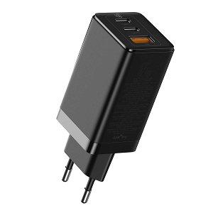 Baseus 65W PD GaN² Pro Quick Charger m. 2 x USB-C & 1 x USB-A - Sort