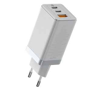 Baseus 65W PD GaN² Pro Quick Charger m. 2 x USB-C & 1 x USB-A - Hvid