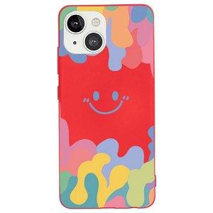 iPhone 13 Fleksibelt Silikone Bagside Cover - Farverig Smiley - Rød
