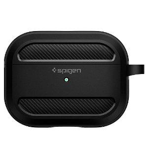 Spigen Rugged Armor Apple Airpods Pro Charging Case Cover m. Karabinhage - Sort