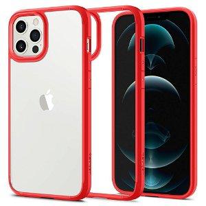 iPhone 12 / 12 Pro Spigen Ultra Hybrid Cover - Gennemsigtig / Rød