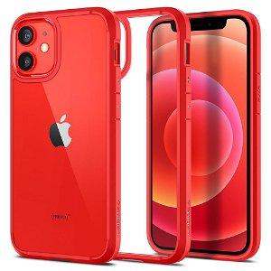 iPhone 12 Mini Spigen Ultra Hybrid Cover - Gennemsigtig / Rød