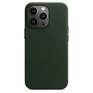 Original Apple iPhone 13 Pro Læder MagSafe Bagside Cover Sequoiagrøn (MM1G3ZM/A)