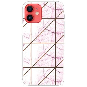 iPhone 13 Mini Fleksibel Plastik Bagside Cover - Lyserød / Hvid Marmor