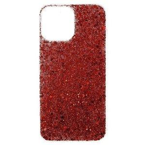iPhone 13 Fleksibel Plastik Bagside Cover - Glitrende Pailletter - Rød